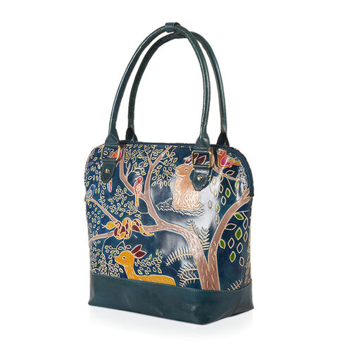 Fall Collection New Forest 100% Genuine Leather Green and Multi Colour RFID Blocker Forest Pattern Handpainted Shoulder Bag (Size 42x30x14 Cm)