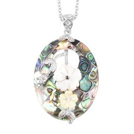 Jardin Collection Inspired - Abalone, White and Yellow Shell Pendant With Chain (Size 24)