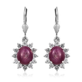 8.50 Ct Ruby and Zircon Halo Drop Earrings in Platinum Plated Sterling Silver