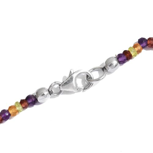 GP Citrine (Ovl), Hebei Peridot, Mozambique Garnet, Amethyst, Russian Diopside and Multi Gem Stone Necklace (Size 18) in Rhodium Plated Sterling Silver 65.05 Ct. Silver wt 9.00 Gms.
