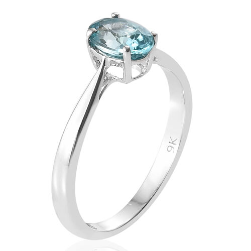 Blue Zircon (1.25 Ct) 9K W Gold Ring  1.250  Ct.