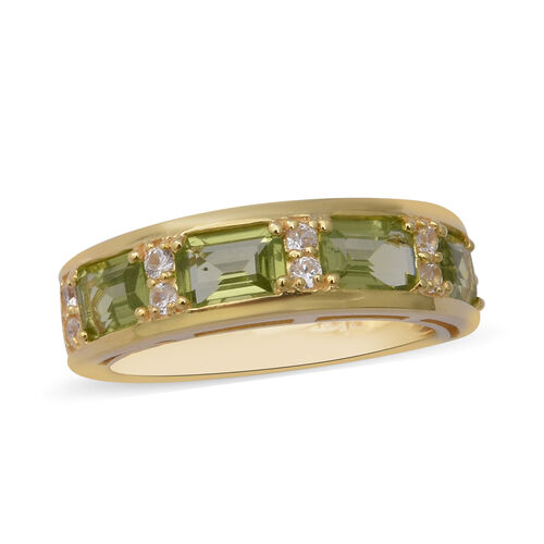 AA Hebei Peridot and Zircon Eternity Band Ring in Yellow Gold Plated Sterling Silver