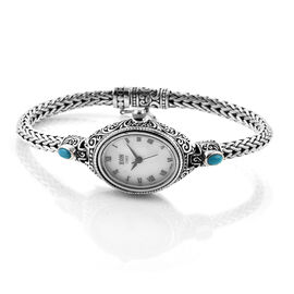 Royal Bali Collection EON 1962 Arizona Sleeping Beauty Turquoise (Ovl) MOP Tulang Naga Bracelet Watch (Size 8) in Sterling Silver 1.000 Ct, Silver wt 23.00 Gms.