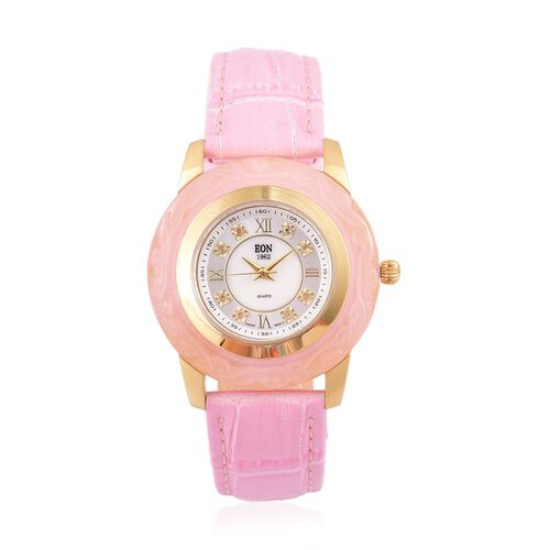 Limited Edition - EON Swiss Movement Hand Carved AAA Pink Jade and White Topaz 3ATM Water Resistant Watch with Genuine Leather Strap 16.140 Ct.