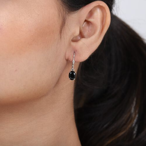 MP AA Boi Ploi Black Spinel (Ovl) Lever Back Earrings in Platinum Overlay Sterling Silver 3.000 Ct.