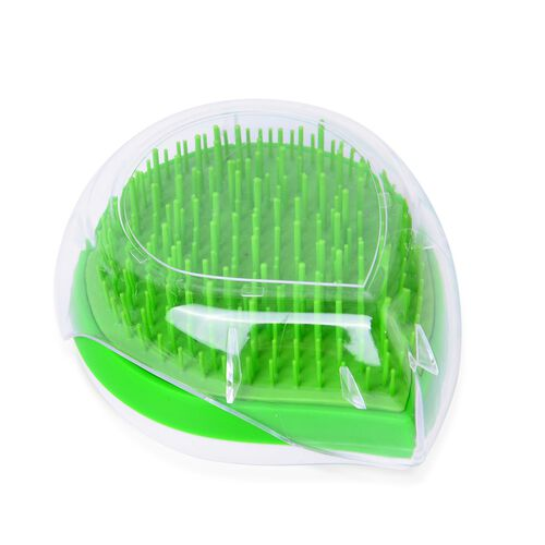 Set of 2 - Green and White Colour Ergonomic Styler and Comb