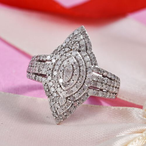 1 Carat Diamond Cluster Ring in Platinum Plated Sterling Silver 5.30 Grams