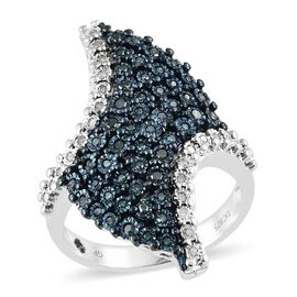 GP Blue Diamond (Rnd), Kanchanaburi Blue Sapphire Cluster Ring in Blue and Platinum Overlay Sterling