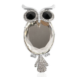 Simulated Diamond (Ovl), Black and White Austrian Crystal Magnetic Owl Brooch in Silver Tone