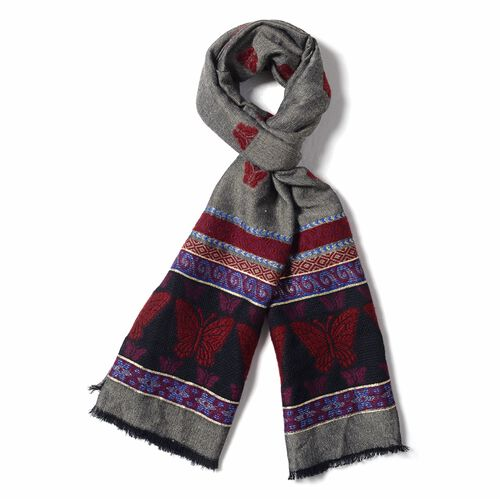 Dark Grey , Burgundy and Multi Colour Scarf with Butterfly and Strip Pattern (Size 170x68 Cm)