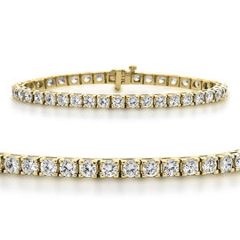 New York Close Out - 14K Yellow Gold (I1-I2/G-H) Diamond (Rnd) Bracelet (Size 8) 11.500 Ct, Gold wt 19.70 Gms.