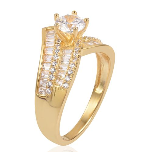 ELANZA Simulated White Diamond Ring in 14K Yellow Gold Overlay Sterling Silver, Silver wt 4.36 Gms.