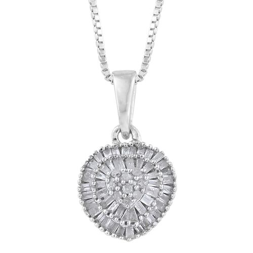 Diamond Ring, Earrings and Pendant with The Chain (Size 20) in Platinum Overlay Sterling Silver 1.000 Ct. Silver wt. 7.35 Gms.