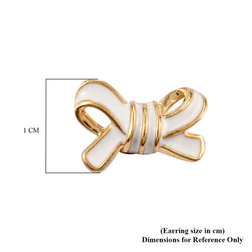 14K Gold Overlay Sterling Silver Bow Enamelled Stud Earrings (with Push Back)