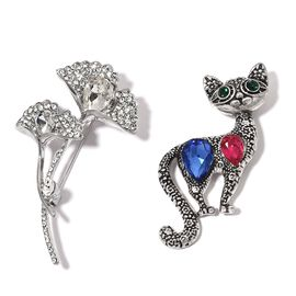 Set of 2- Simulated Blue Sapphire, Simulated Ruby, White and Green Austrian Crystal and Multi Colour Simulated Diamond Cat and Flower Bouquet Brooch in Silver Bond