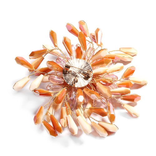 Simulated Orange and Multi Colour Gemstone, Yellow Shell Pearl Floral Brooch in Yellow Gold Tone