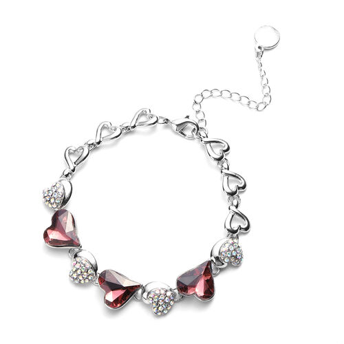 Simulated Tourmaline and Simulated Mystic White Crystal Heart Bracelet (Size 7 with 2.5 inch Extende