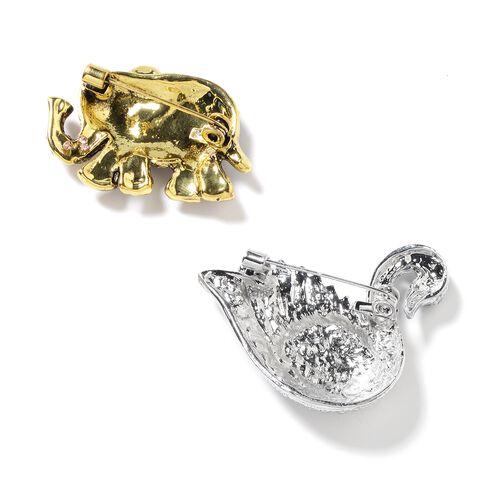 2 Piece Set - White Austrian Crystal (Rnd), Multi Colour Austrian Crystal, Black Austrian Crystal Swan and Elephant Brooch