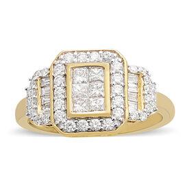 ILIANA 1 Carat Diamond Princess Cut Cluster Ring in 18K Gold IGI Certified SI GH