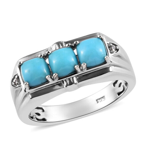 Sleeping Beauty Turquoise and Zircon Trilogy Ring in Platinum Plated Silver 5.71 Grams 1.77 Ct