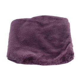 Solid Purple Faux Fur Hooded Cross-Over Scraf (12x100cm)