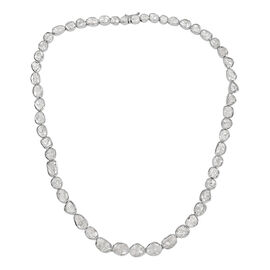 14 Carat Polki Diamond Beaded Necklace in Platinum Plated Sterling Silver 18 Inch