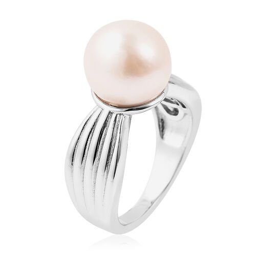 Edison Pearl Ring in Rhodium Overlay Sterling Silver, Silver wt 5.57 Gms