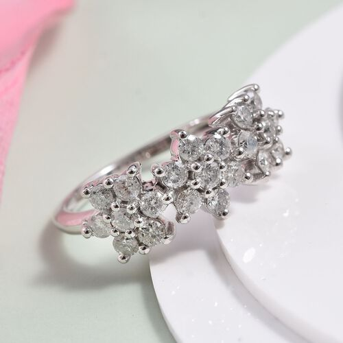 1 Carat Diamond Cluster Floral Ring in 9K White Gold SGL Certified I3 GH