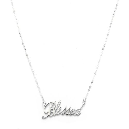 Viale Argento Sterling Silver BLESSED Necklace (Size 18)