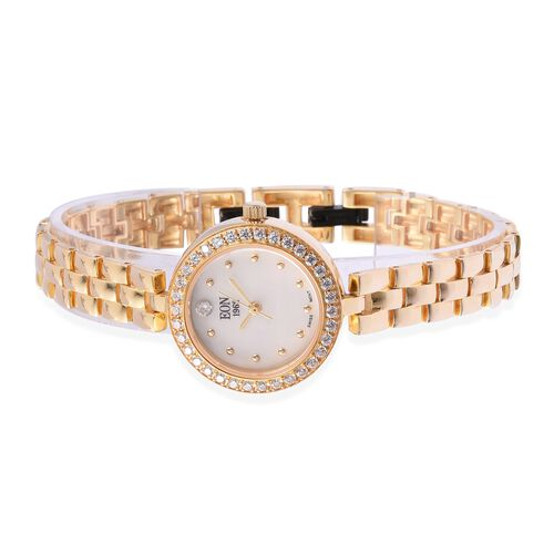 EON 1962 Swiss Movement Simulated Diamond Studded  3ATM Water Resistant Watch with Sapphire Glass in Yellow Gold Plated Sterling Silver and Stainless Steel, Silver wt 19.000 Gms