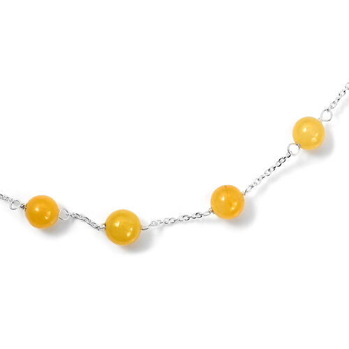 2 piece Set - Yellow Jade Station Necklace (Size 18) and Hook Earrings in Sterling Silver 27.75 Ct.