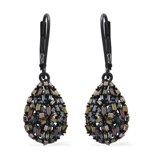 One Time Deal-Rainbow Colour Diamond (Bgt) Tear Drop Lever Back Earrings in Black Rhodium Plated Sterling Silver 1.000 Ct.