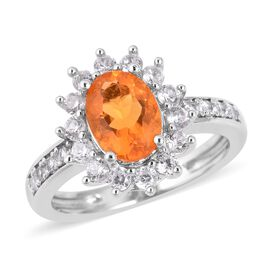 1.57 Ct Fire Opal and White Zircon Halo Ring in Sterling Silver 4.3 Grams