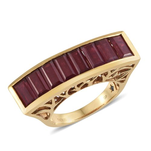 GP African Ruby (Bgt), Kanchanaburi Blue Sapphire Ring in 14K Gold Overlay Sterling Silver 9.750 Ct. Silver wt 6.90 Gms.