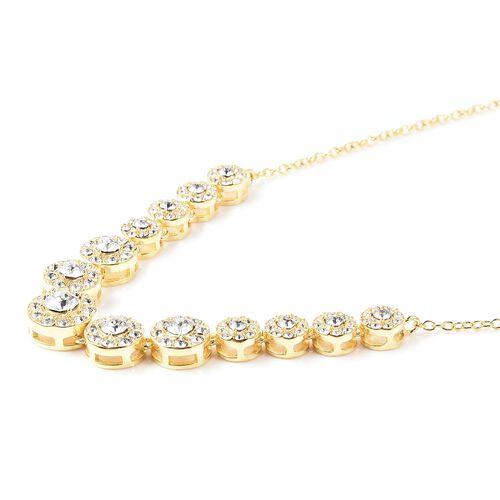 J Francis - Crystal from Swarovski White Crystal (Rnd) Necklace (Size 18) in Yellow Gold Overlay Sterling Silver, Silver wt 5.12 Gms