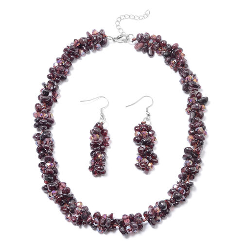 Mozambique Garnet and Magic Colour Beaded Necklace and Hook Earrings 18 with 1.5 inch Extender