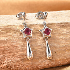 LucyQ Shooting Star Collection - African Ruby (FF) Earrings in Rhodium Overlay Sterling Silver