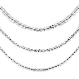 Hatton Garden Close Out Deal- Sterling Silver 3-Layer Necklace (Size 18), Silver Wt. 11.10 Gms