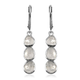 Artisan Crafted Polki Diamond Earrings in Sterling Silver 1.43 Ct.