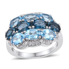 London Blue Topaz (Ovl), Swiss Blue Topaz and Natural Cambodian Zircon Ring in Rhodium Overlay Sterl