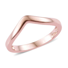 Rose Gold Overlay Sterling Silver Wishbone V Shape Stacker Ring