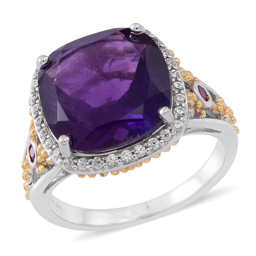 Lusaka Amethyst (Cush 8.00 Ct), Burmese Ruby and Natural White Cambodian Zircon Ring in Rhodium Plated Sterling Silver 8.500 Ct. Silver wt 5.50 Gms.