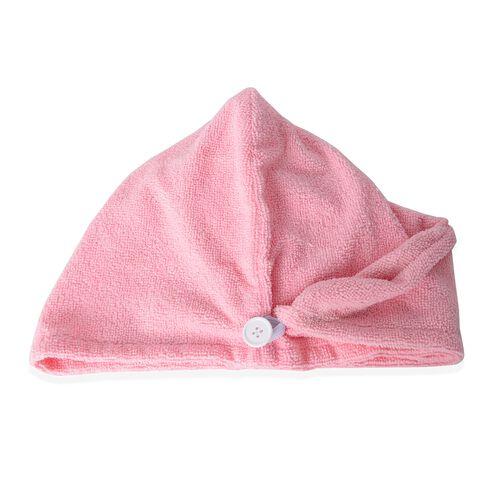 Set of 3- White and Pink Colour Bath Set including 1 Shower Cap (Size 27 Cm), 1 Bath Flower Pad (Size 15 X11 Cm)  and 1 Hair Wrap (Size 62x24 Cm)