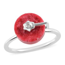 Thulite and Natural Cambodian Zircon Ring in Sterling Silver 3.76 Ct.