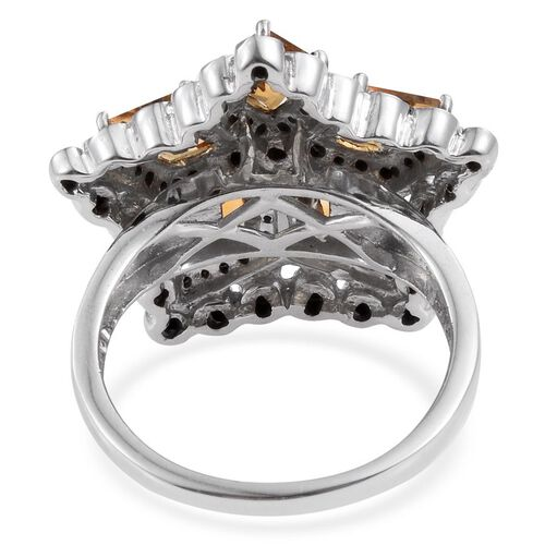 GP Citrine (Kite), Boi Ploi Black Spinel and Kanchanaburi Blue Sapphire Ring in Platinum Overlay Sterling Silver 4.250 Ct.