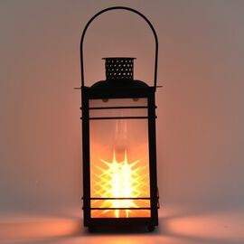 Garden Decoration Hanging Lantern in Yellow Light (Size 12x12x23 Cm) - Star Pattern Black (3xAAA Bat
