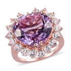 Rose De France Amethyst and Natural Cambodian Zircon Halo Heart Ring (Size P) in Rose Gold Overlay Sterling S