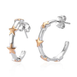 Half Hoop Star Earring in Sterling Silver with Push Backs