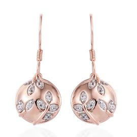 Natural Cambodian Zircon (Rnd) Hook Earrings in Rose Gold Overlay Sterling Silver 0.25 Ct, Silver wt