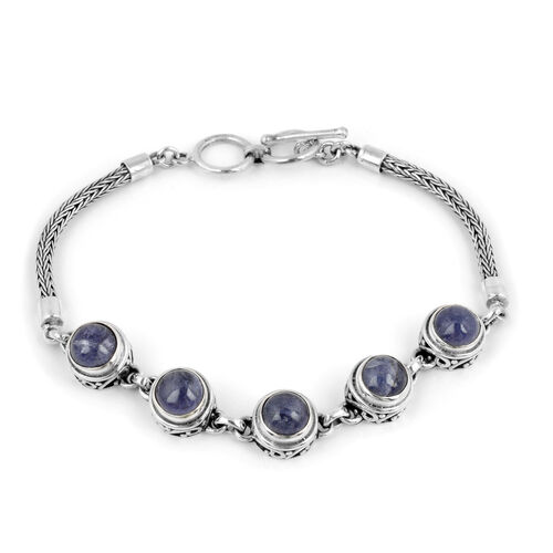 Royal Bali Collection 9.50 Ct Tanzanite Station Bracelet in Silver 7.5 Inch with Extender